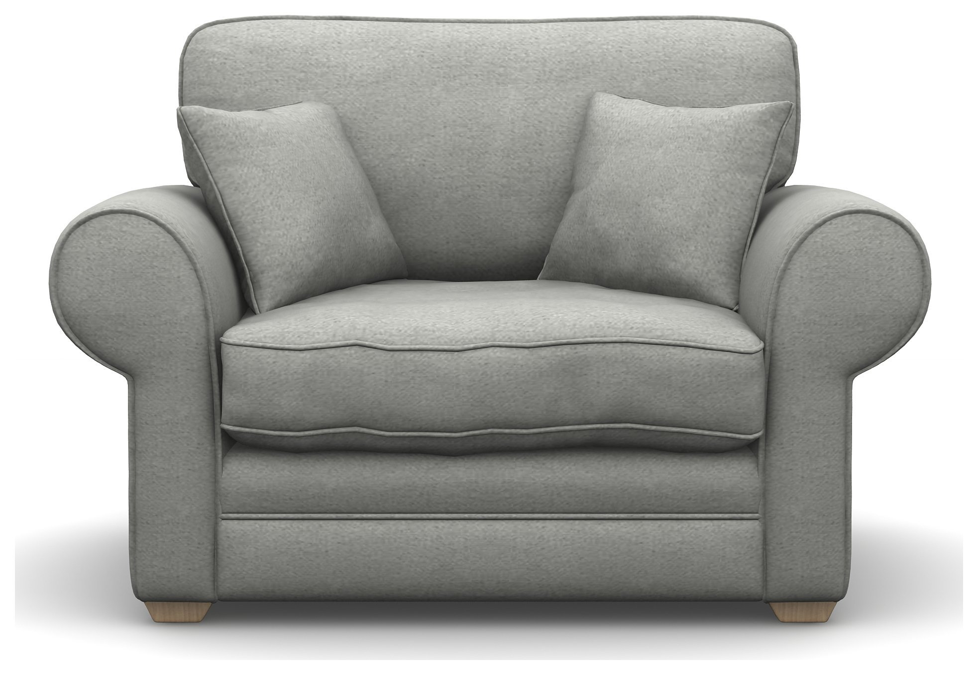 Heart of House Chedworth Fabric Cuddle Chair - Grey With Wooden Feet