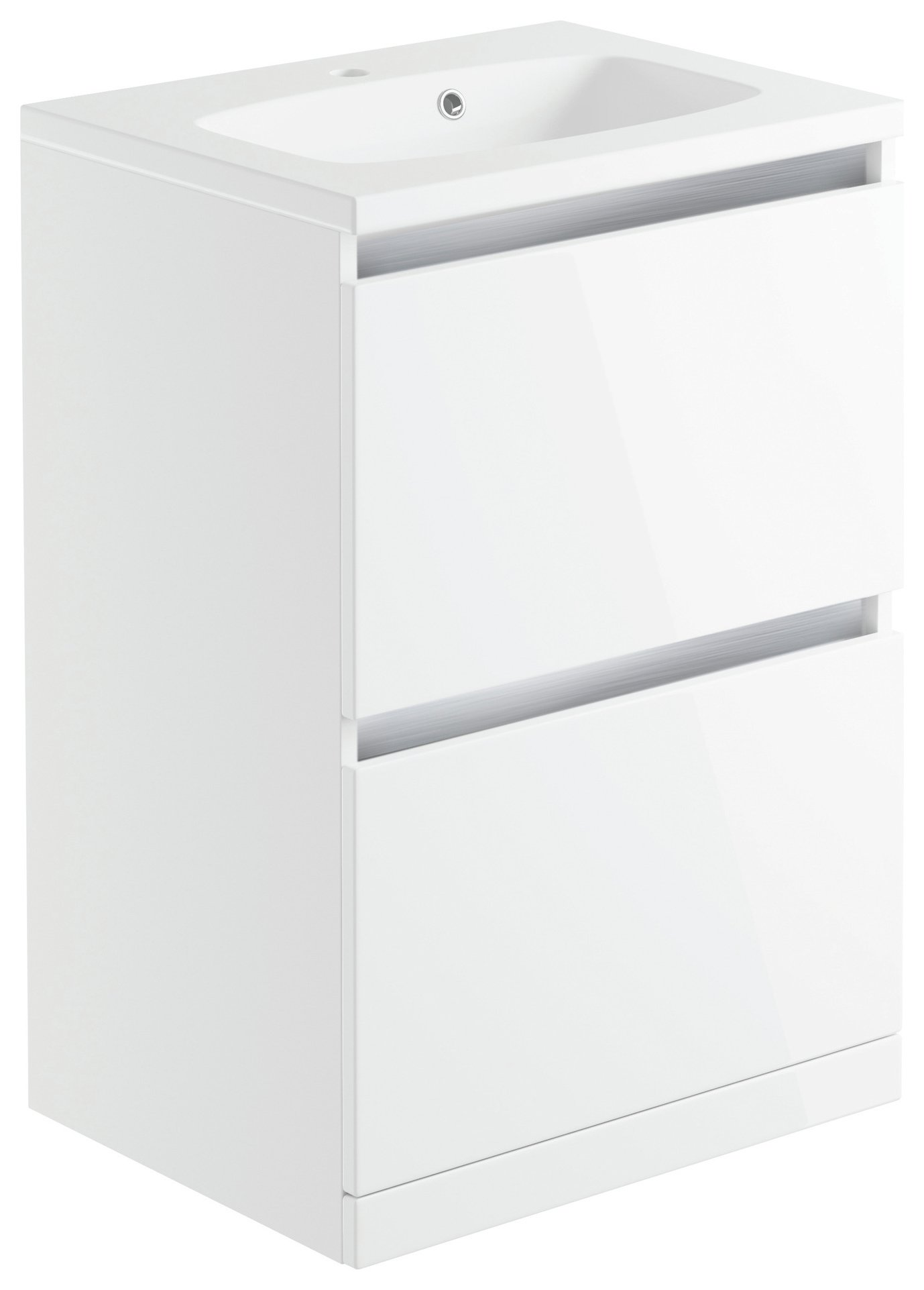 Lavari 2 Drawer Freestanding Vanity Basin - White Gloss