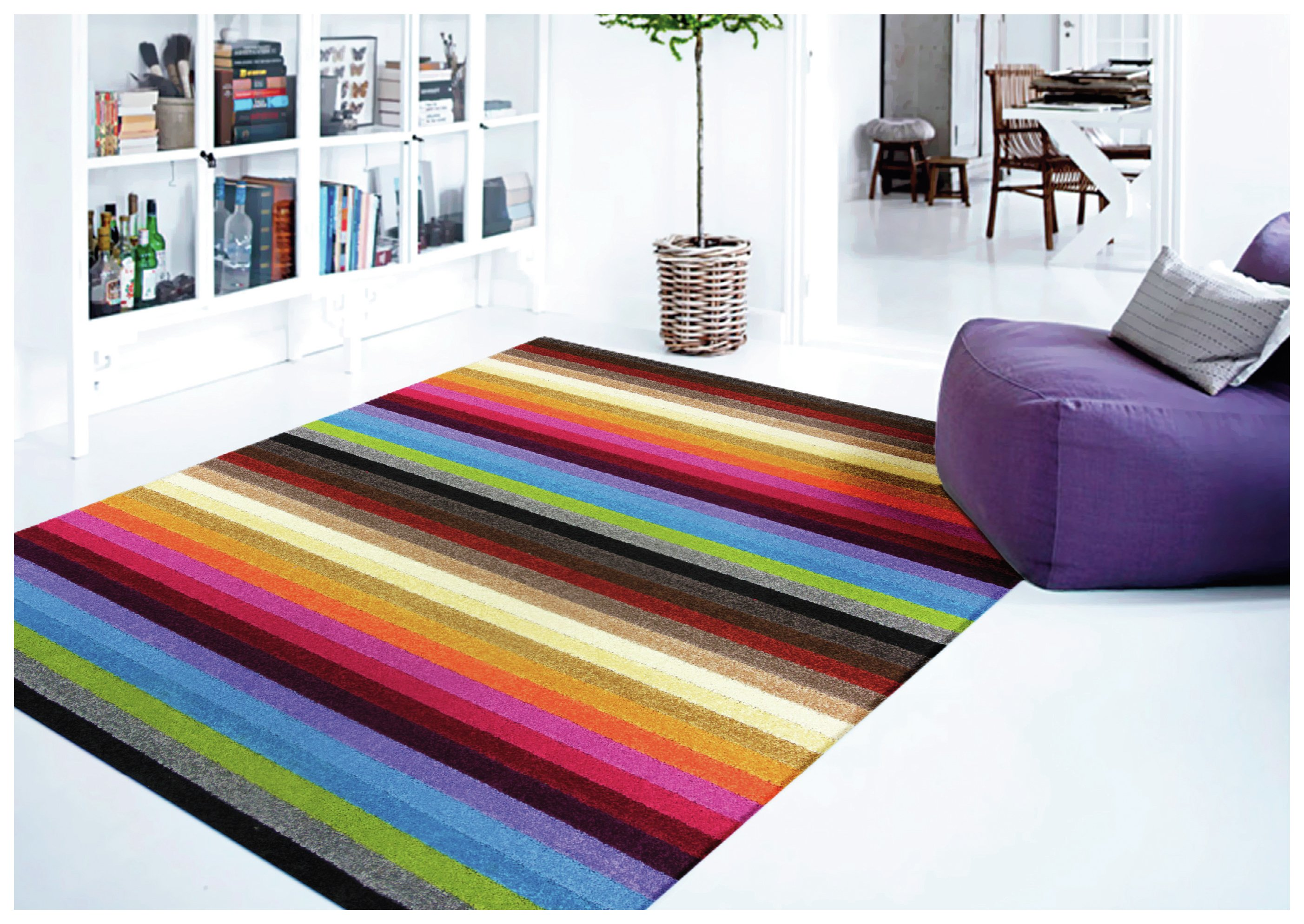 Image of Linea Stripe Washable Rug - 200 x 140cm - Rainbow.