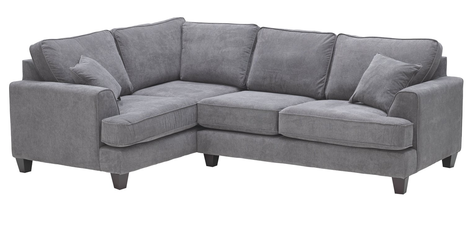 Heart of House Hampstead Fabric Left Corner Sofa - Pewter + Black Legs