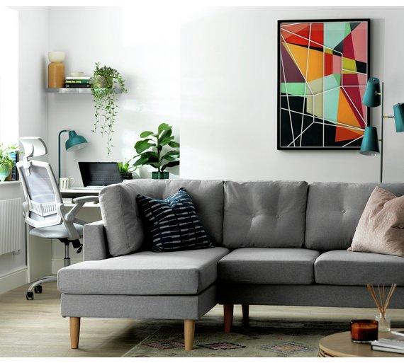 Grey Fabric Left Hand Corner Sofa: Left Hand Corner Sofa Bed Argos