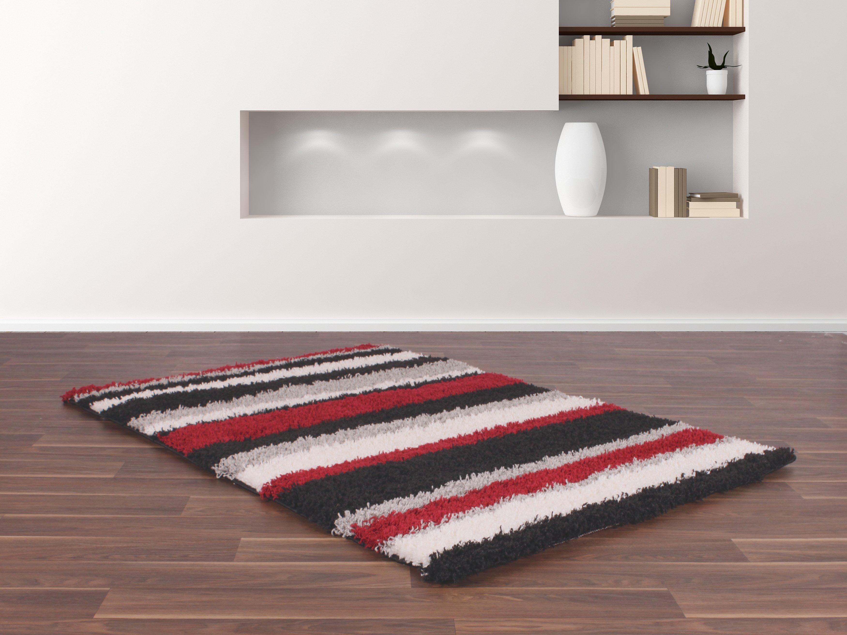 Sienna Stripe Rug - 80 x 150cm - Black and Red.