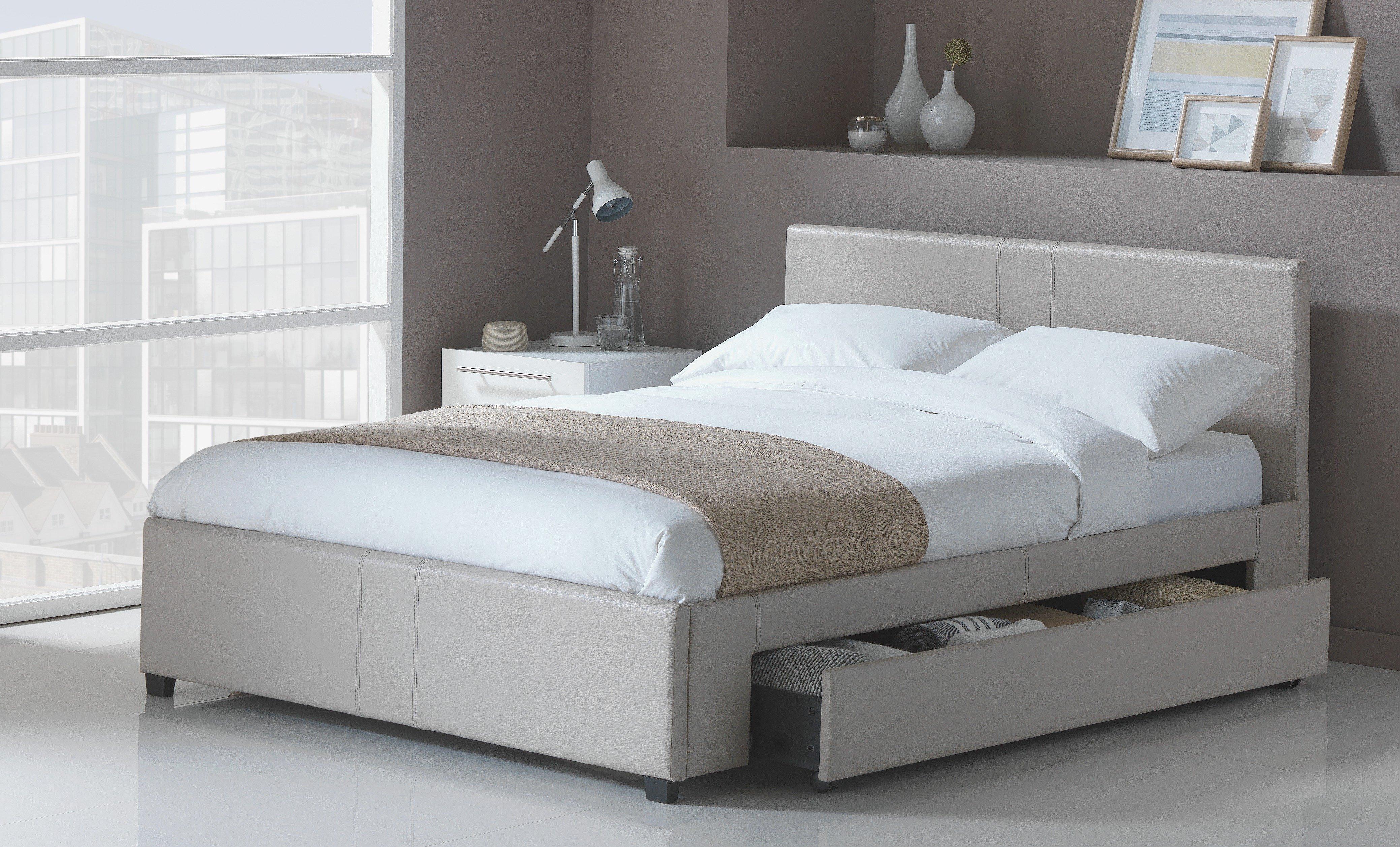Hygena - Keating 1 Drawer Latte - Bed Frame - Double