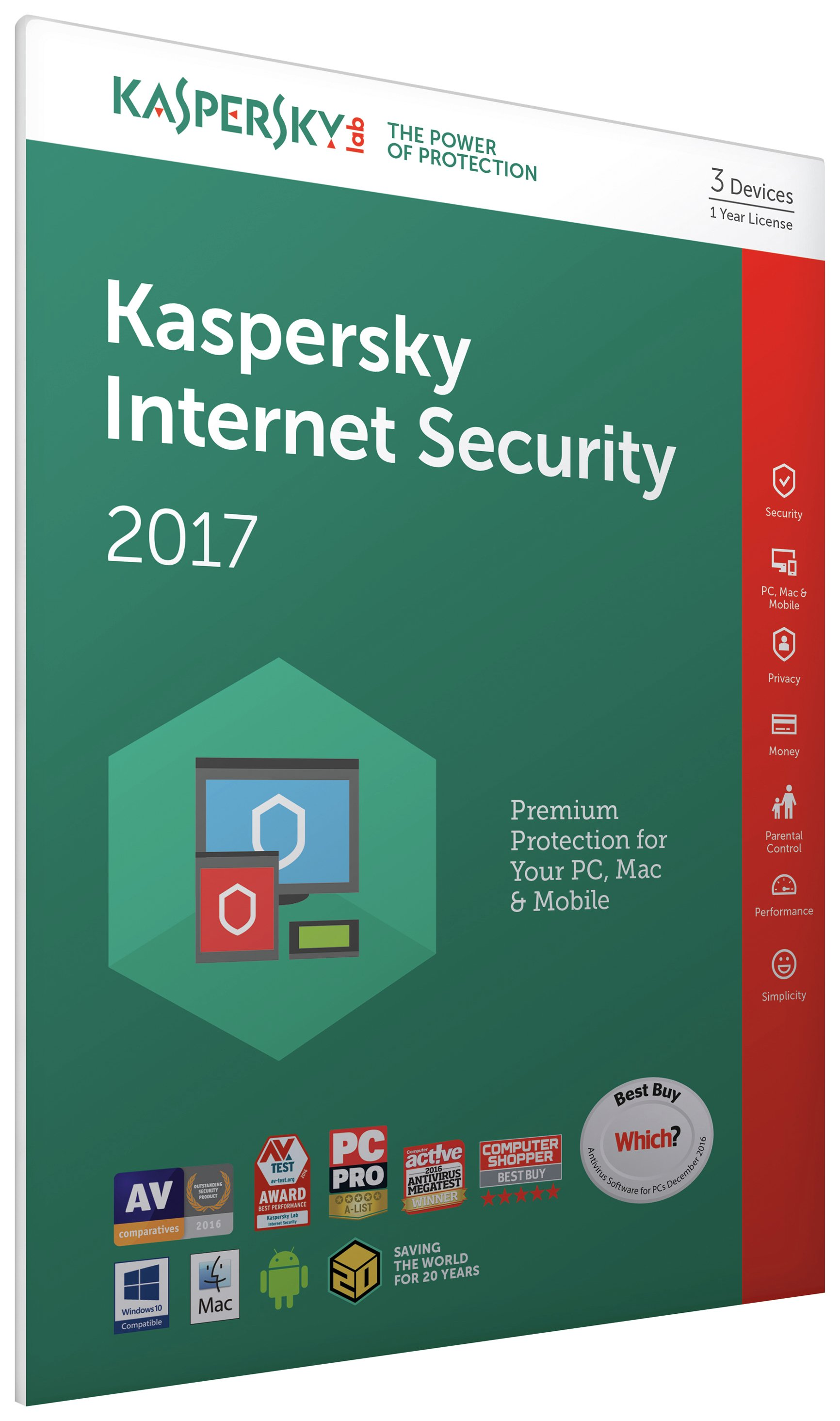 Kaspersky Kaspersky - Internet Security 2017 - 3 Devices, 1 Year License