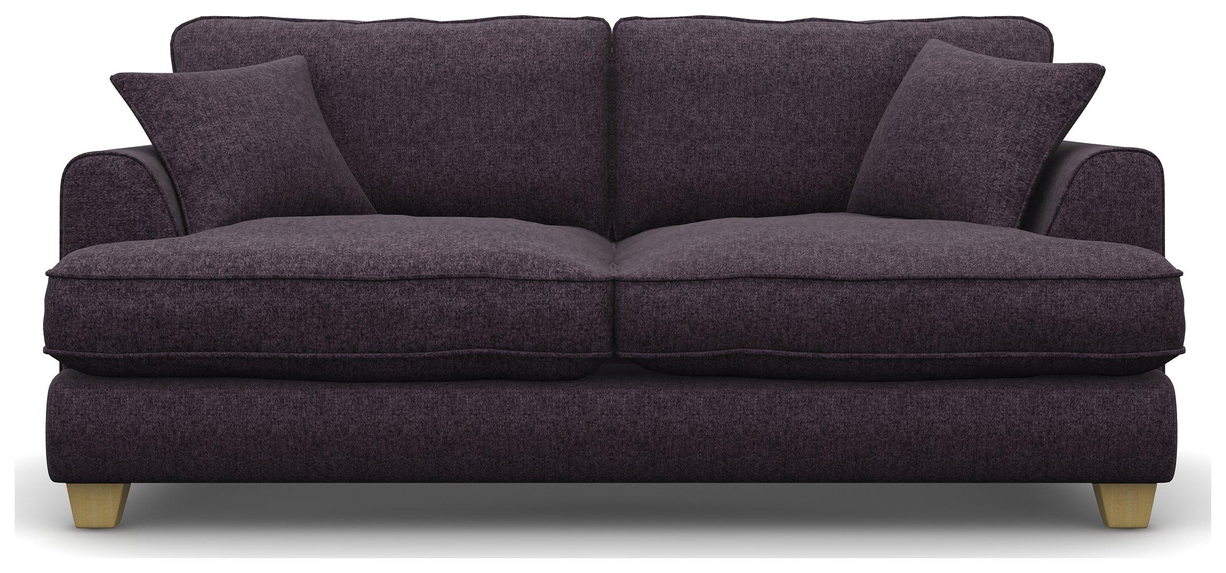 Heart of House Hampstead 3 Seat Tweed Fabric Sofa - Purple.
