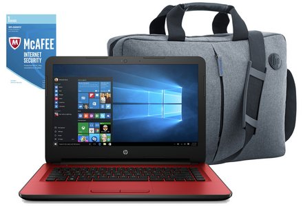 HP 14 Inch Intel Celeron 4GB 1TB Laptop Red - Bag & McAfee.
