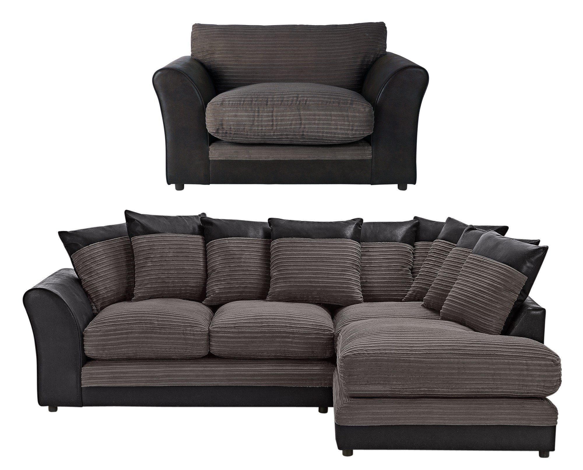 Argos Home Harley Large Right Corner Sofa & Chair - Charcoal
