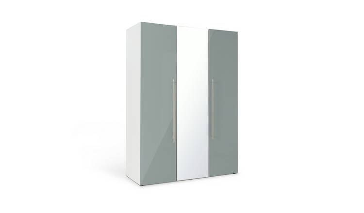 Habitat Atlas Grey Gloss & White 3 Door Mirrored Wardrobe
