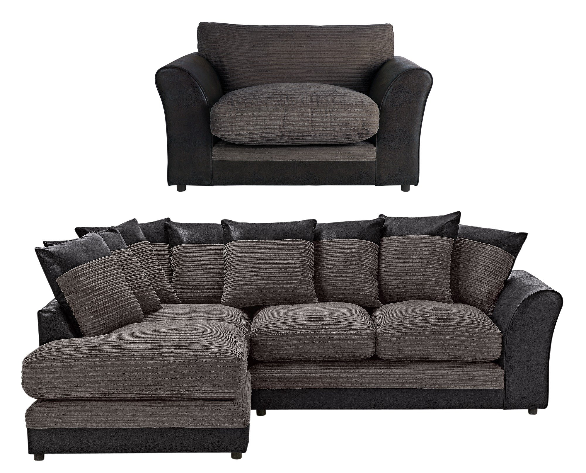 HOME Harley Large Left Corner Sofa and Chair - Charcoal