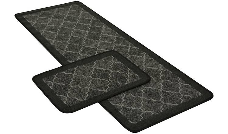 Spanish Tile Runner and Doormat Set - Anthracite.