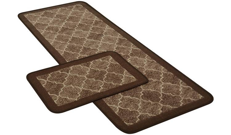 Spanish Tile Runner and Doormat Set - Chocolate.