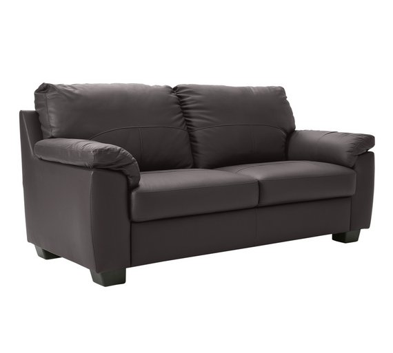 buy home new logan 2 seater leather sofa chocolate at. Black Bedroom Furniture Sets. Home Design Ideas