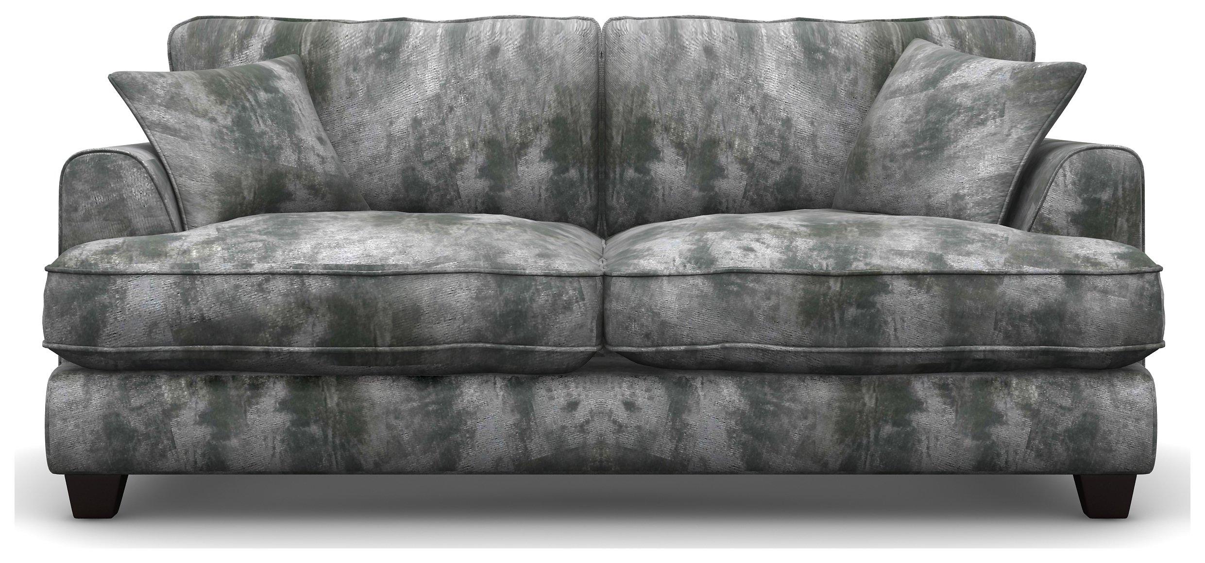 Hampstead 3 Seat Shimmer Fabric Sofa - Silver + Black Legs