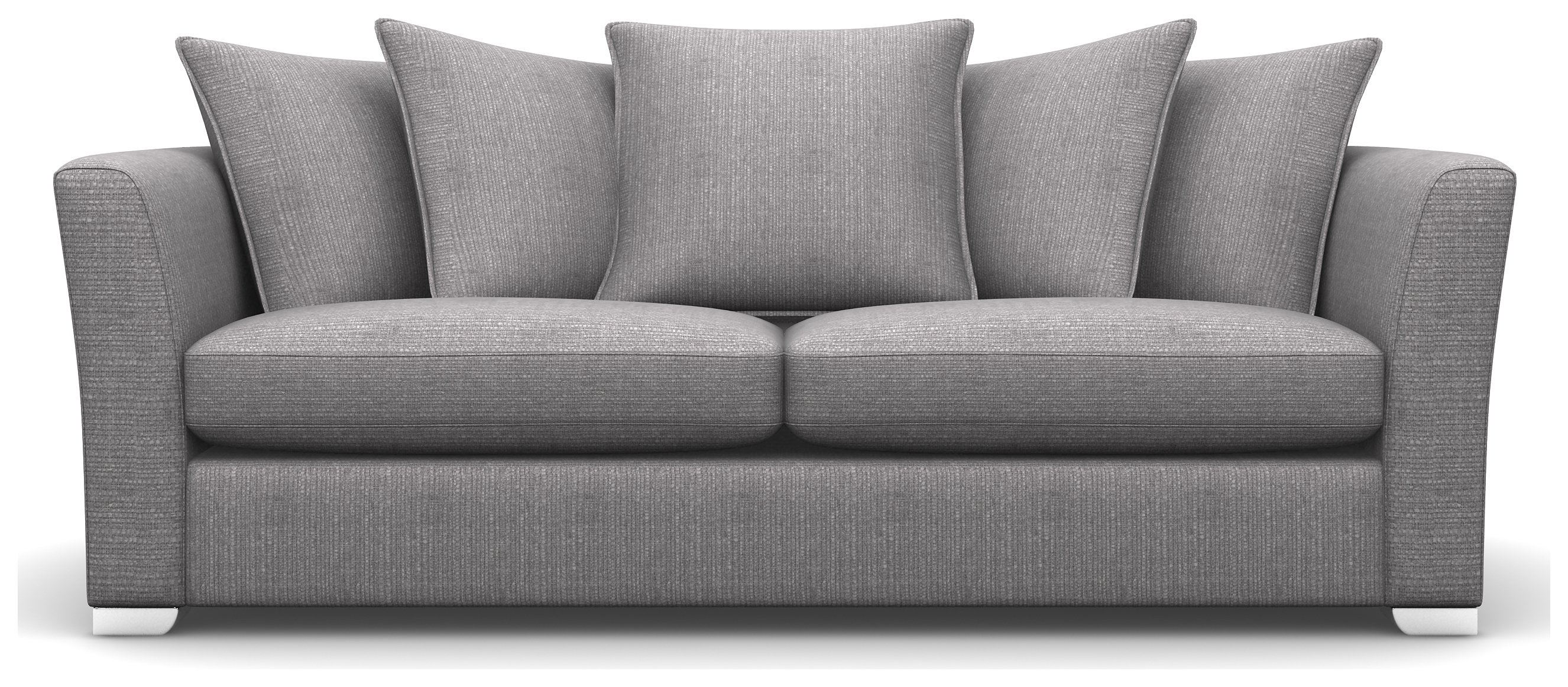 Heart of House Libby 3 Seater Fabric Sofa - Ash + White Legs