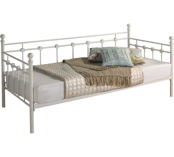 buy collection abigail single metal day bed frame white. Black Bedroom Furniture Sets. Home Design Ideas