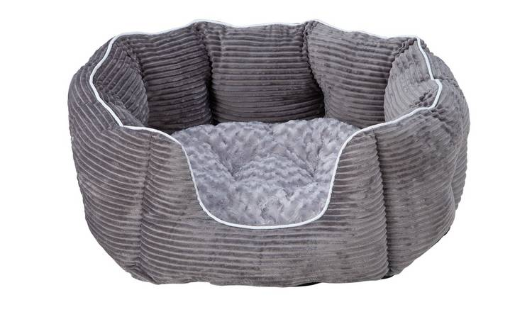 Grey Cord Oval Pet Bed - Extra Large