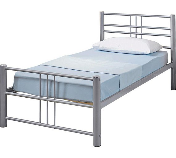 Buy Argos Home Atlas Single Metal Bed Frame - Silver | Bed frames ...