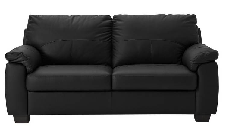 Buy Argos Home Logan 3 Seater Leather Mix Sofa - Black | Sofas ...