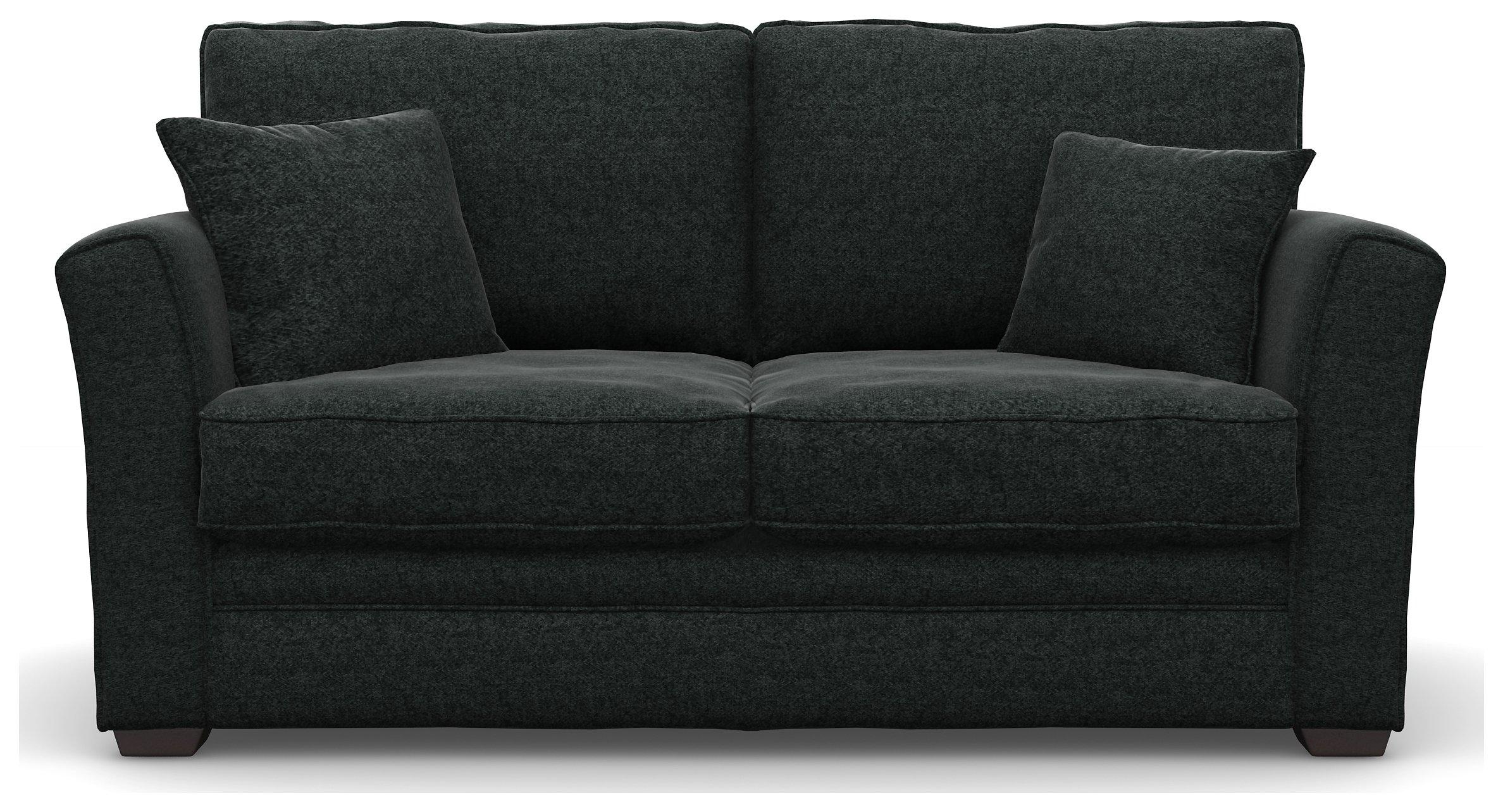 HoH Malton 2 Seat Tweed Fabric Sofa Bed - Charcoal + Black Legs