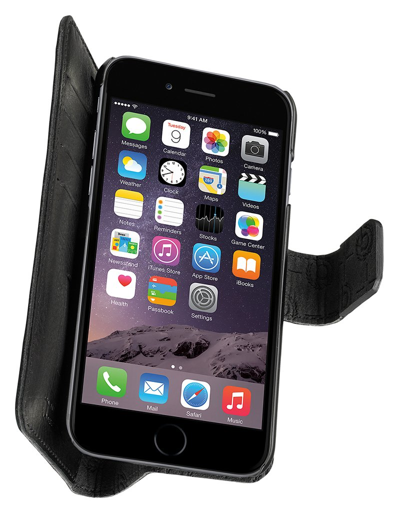 Image of Bugatti - Zurigo - for - iPhone - 7 Leather - Book - Case - Black