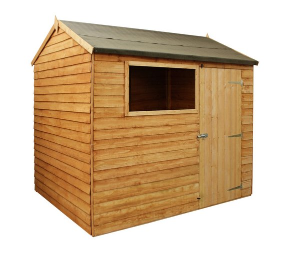 mercia wooden overlap reverse 8 x 6 apex shed