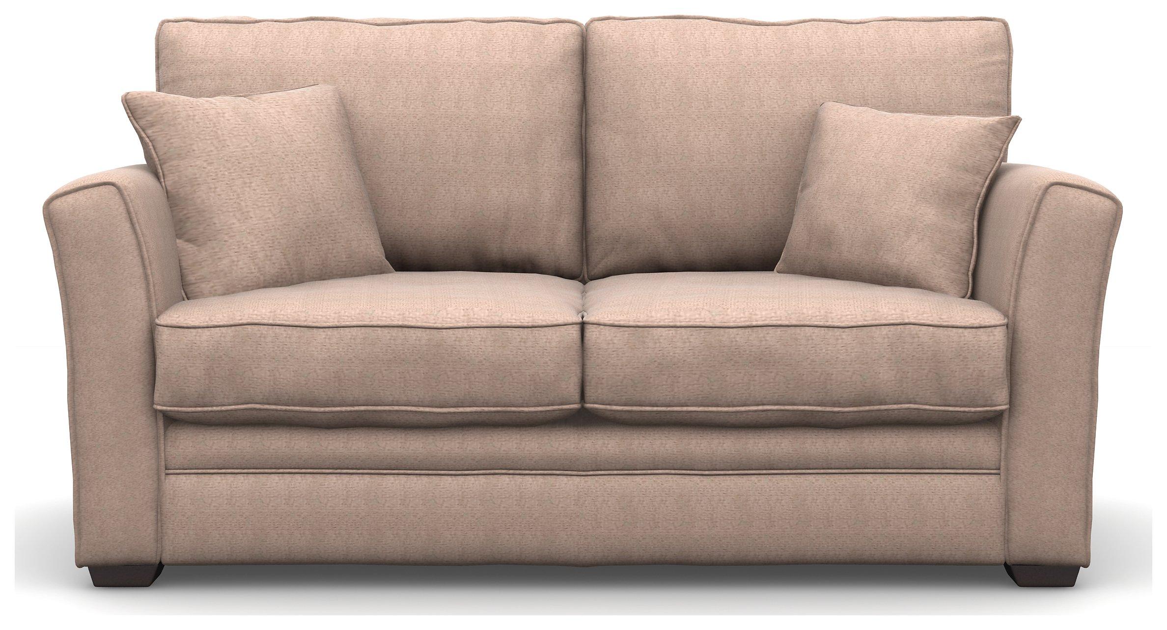 Heart of House Malton 2 Seater Fabric Sofa Bed - Stone + Black Legs
