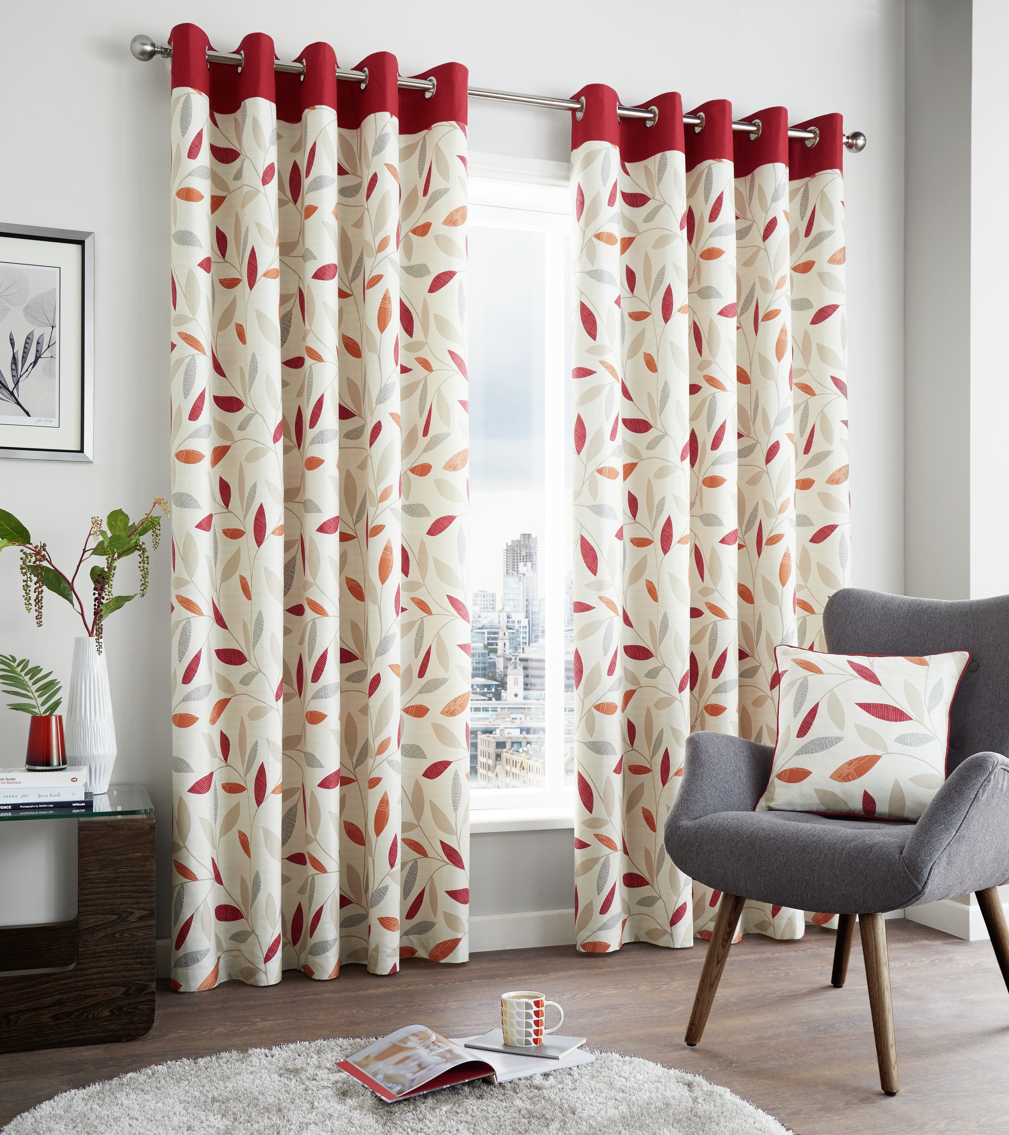 Image of Fusion Beechwood Lined Curtains - 168x229cm - Red.
