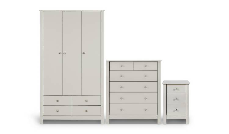 Habitat Osaka 3 Piece 3 Door Wardrobe Set - Soft Grey
