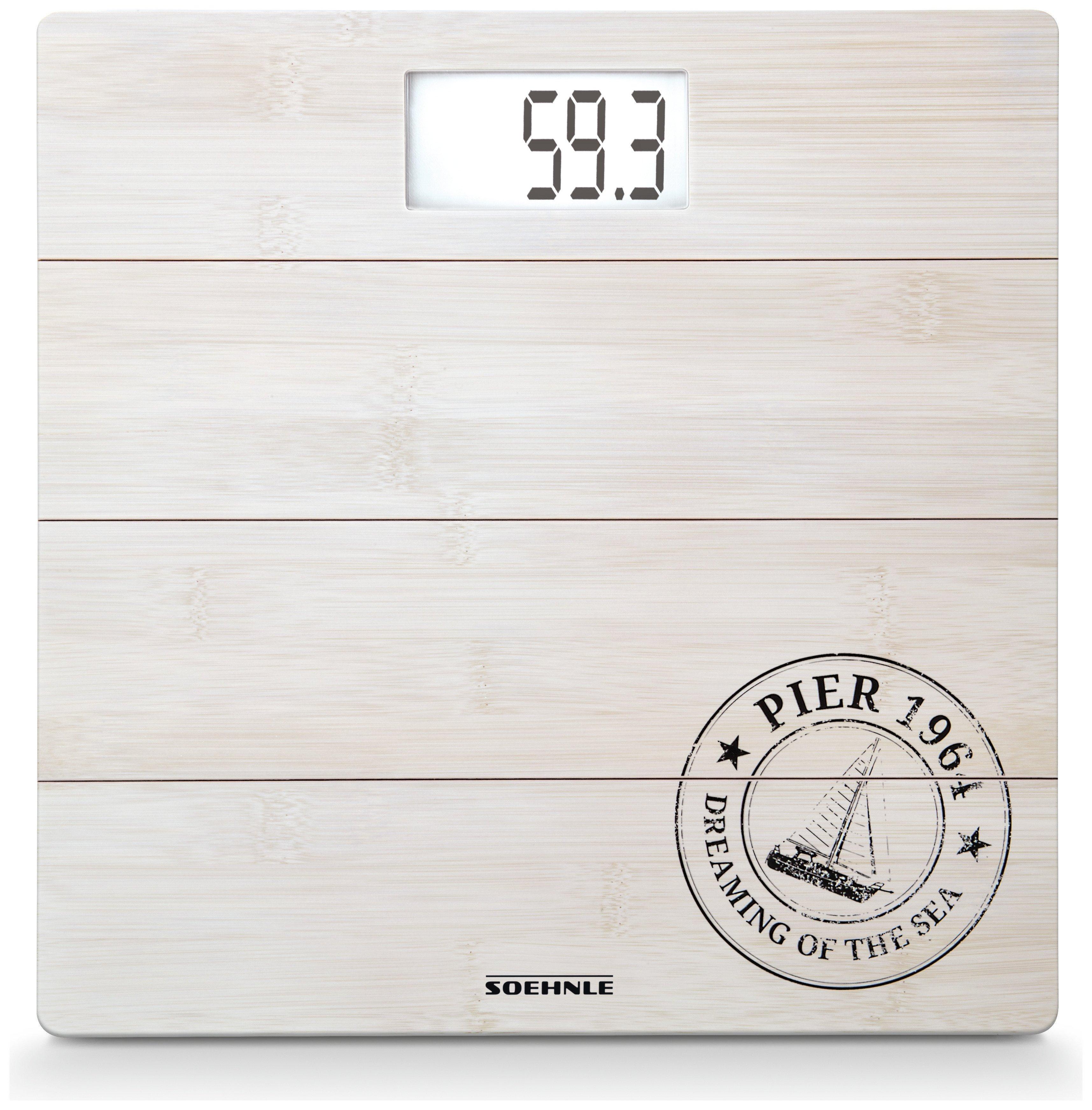 Leifheit Digital Bathroom Scales - White Bamboo.