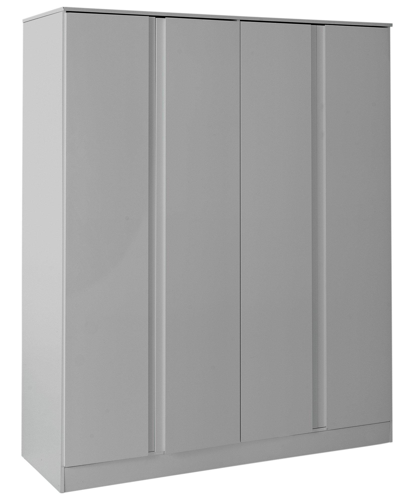 sale on hygena larvik 4 door wardrobe grey gloss. Black Bedroom Furniture Sets. Home Design Ideas