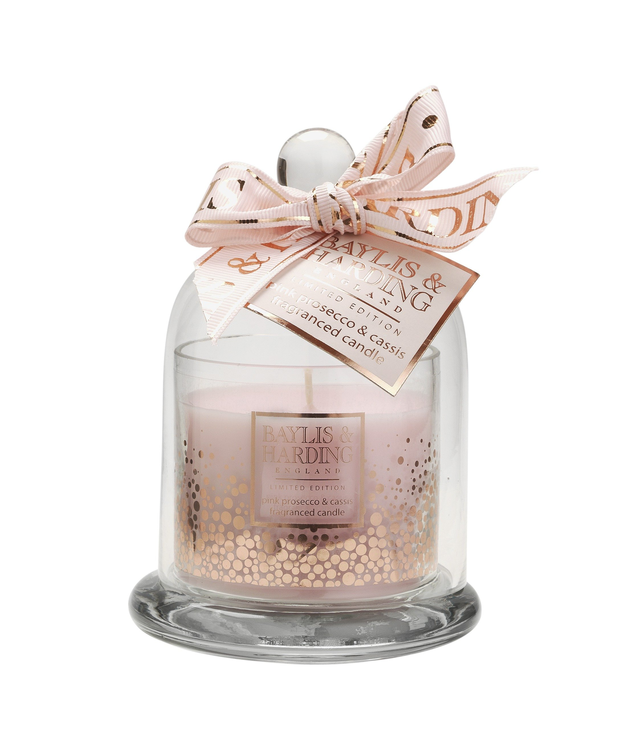 Image of Baylis & Harding Pink Prosecco and Cassis Candle and Cloche