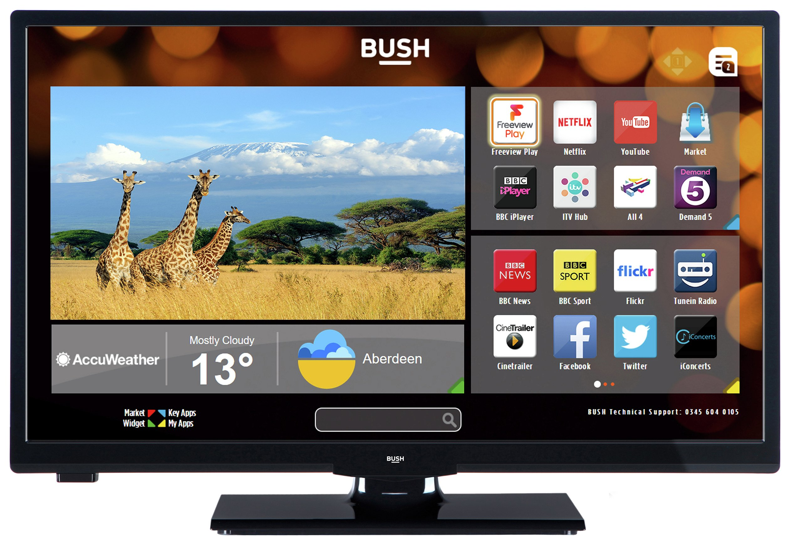 Image of Bush 24 Inch HD Ready Smart TV With DVD Player - Black