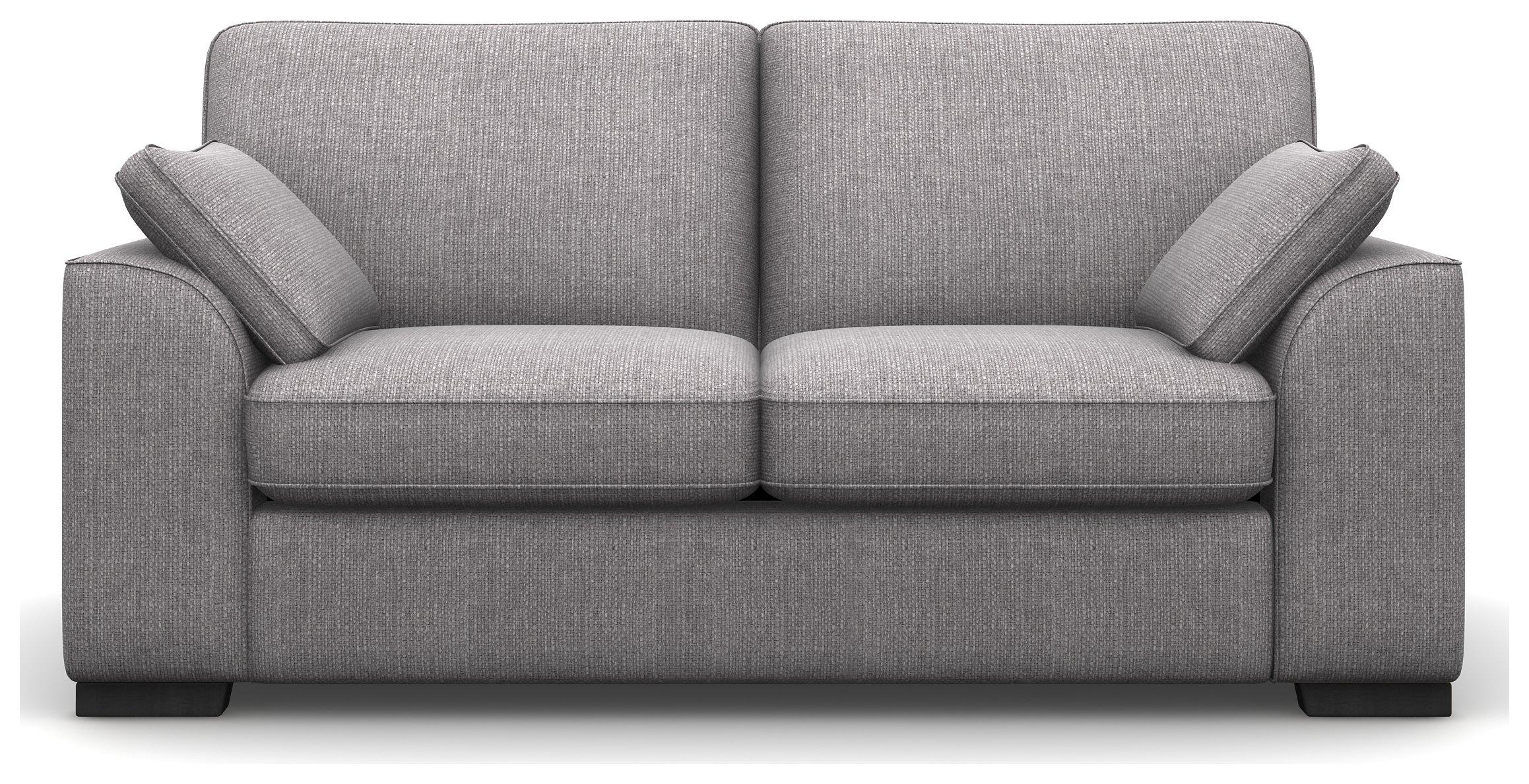 Heart of House Lincoln 2 Seater Fabric Sofa - Ash + Black Legs