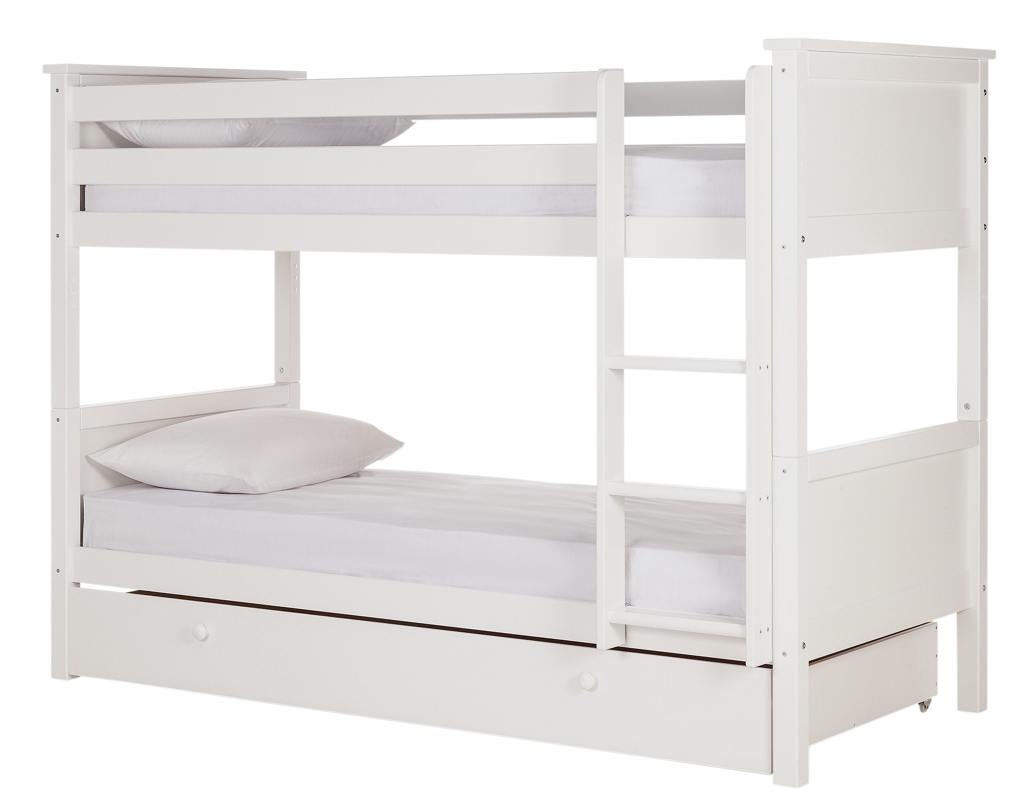 White bunk bed easton white bunk bed free shipping for Furniture of america pello full over full slatted bunk bed
