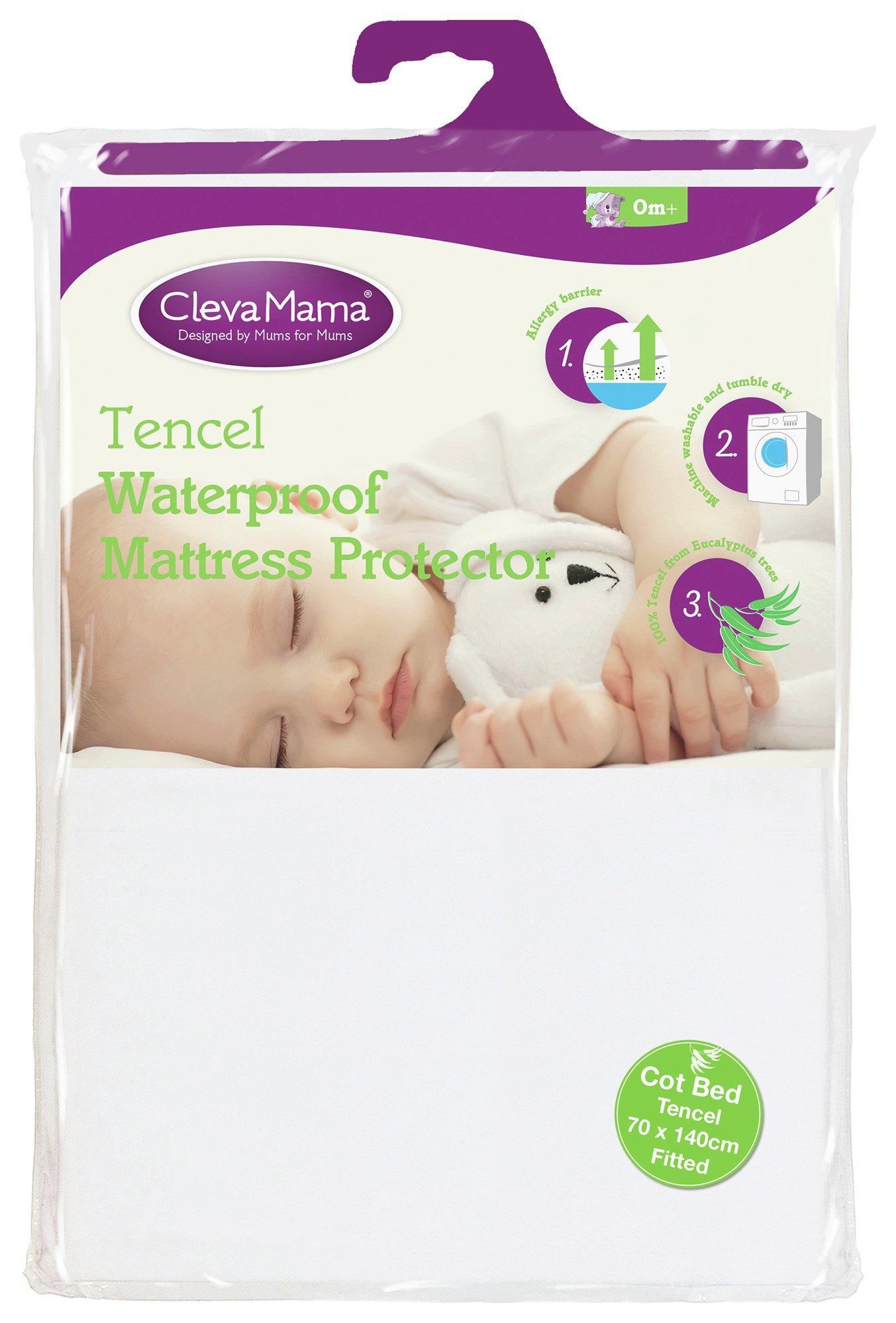 clevamama  tencel waterproof  mattress protector  90x40cm
