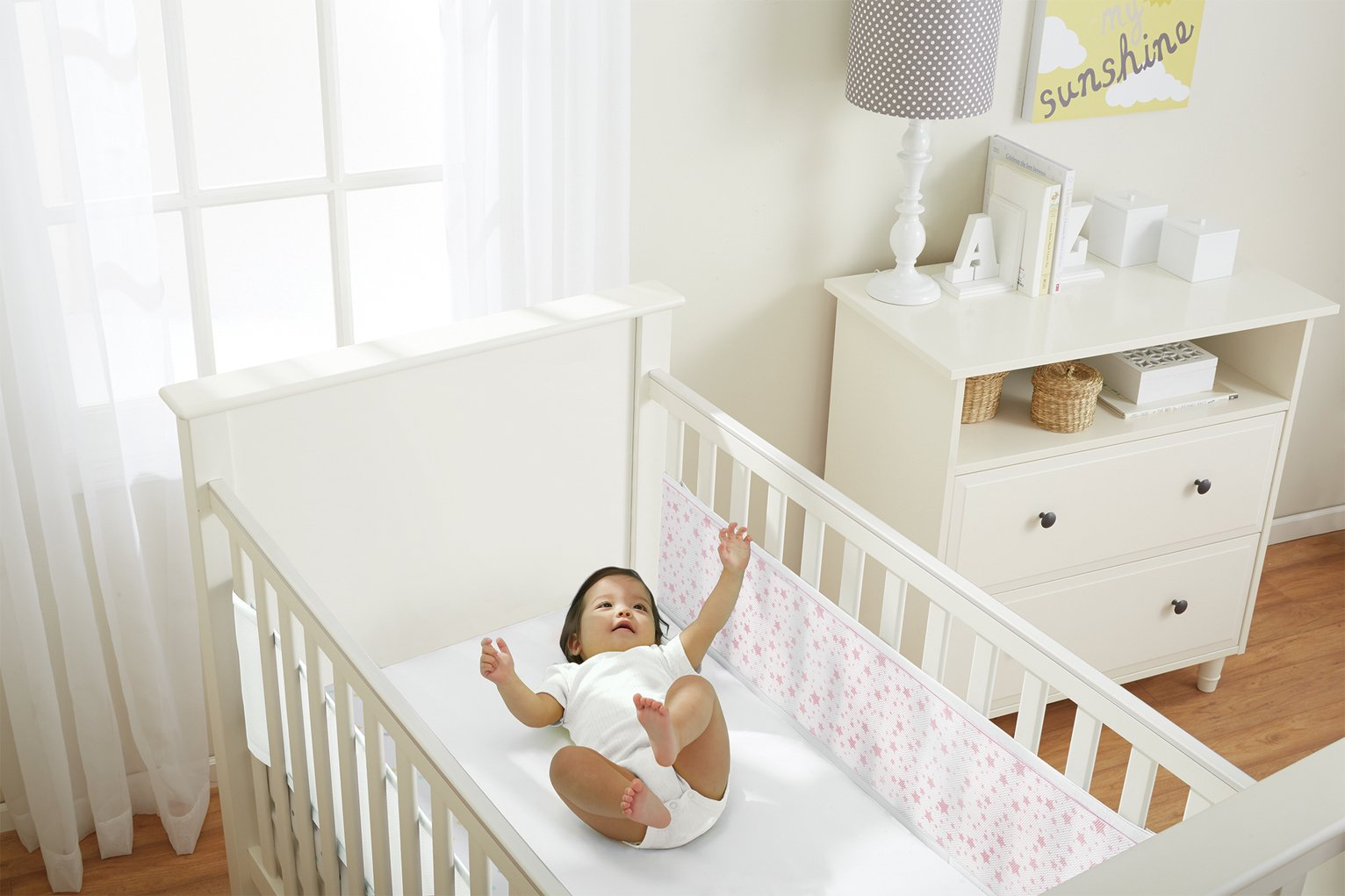 BreathableBaby Mesh Cot Liner for Solid Cots - Twinkle Pink