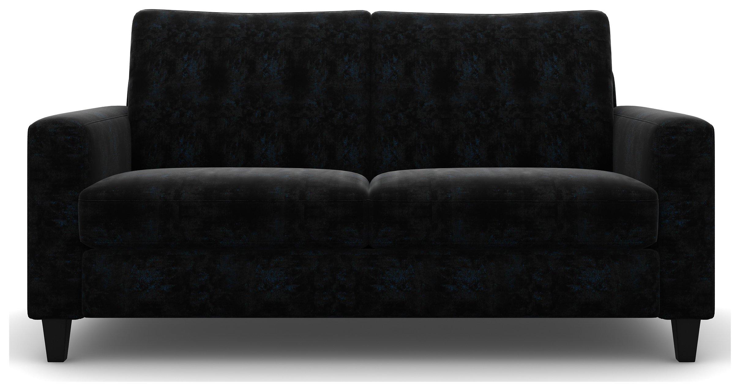 Heart of House Harrison 3 Seat Shimmer Fabric Sofa - Black.