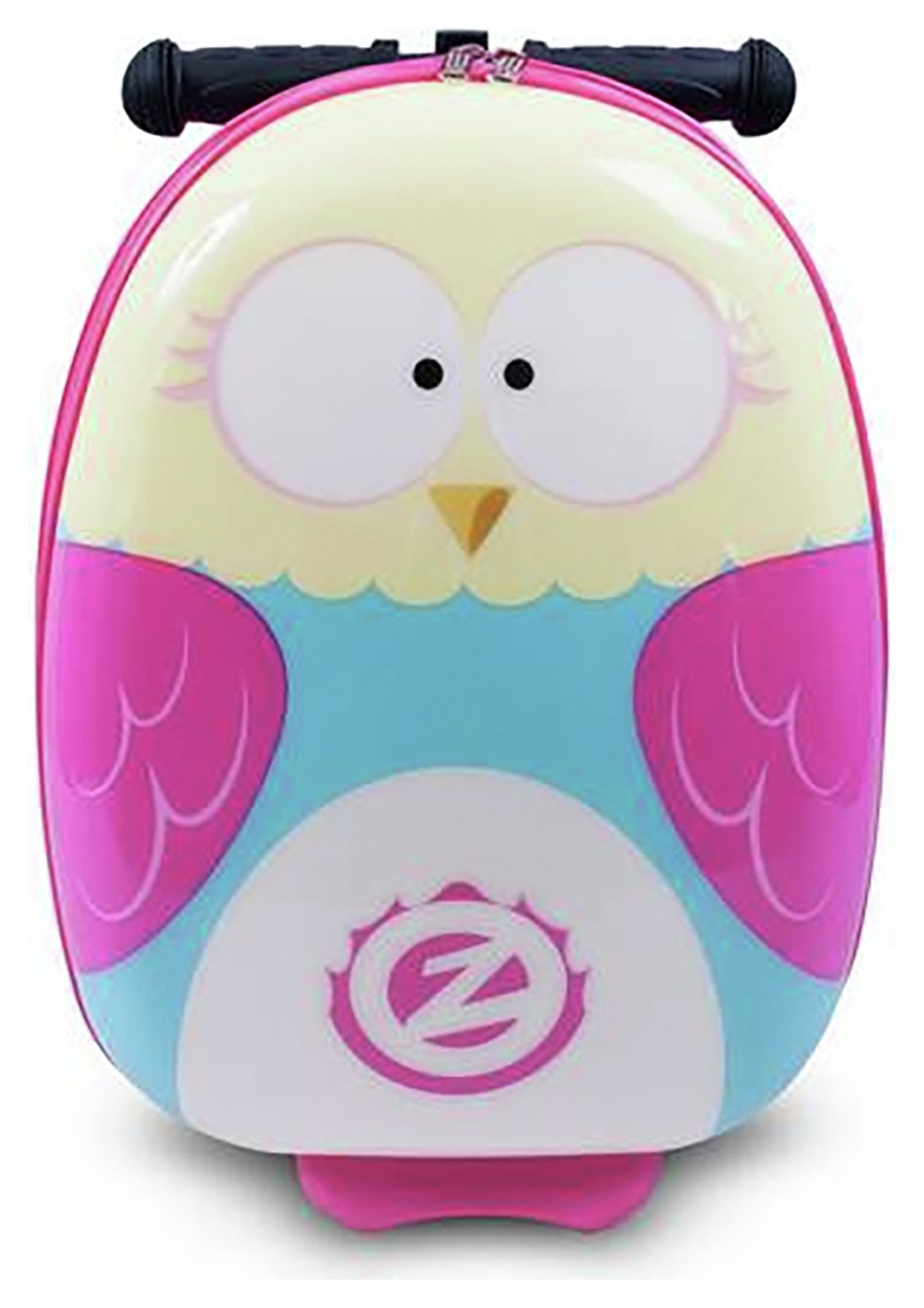 Flyte Olivia the Owl 3 Wheel Hard Scooter Suitcase - Pink