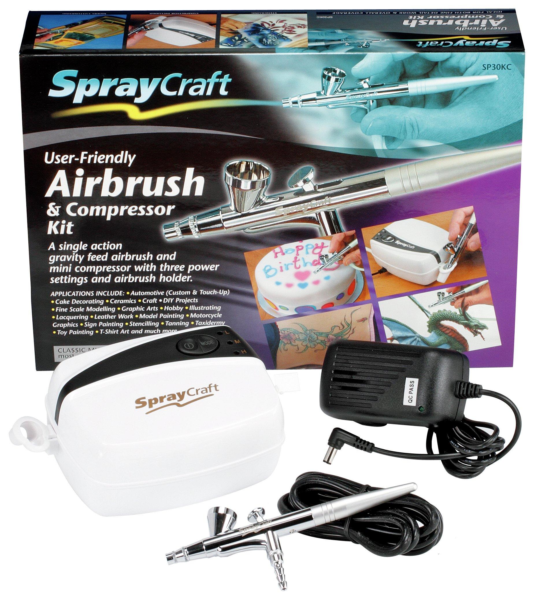 Spraycraft Gravity Feed Airbrush and Compressor Kit