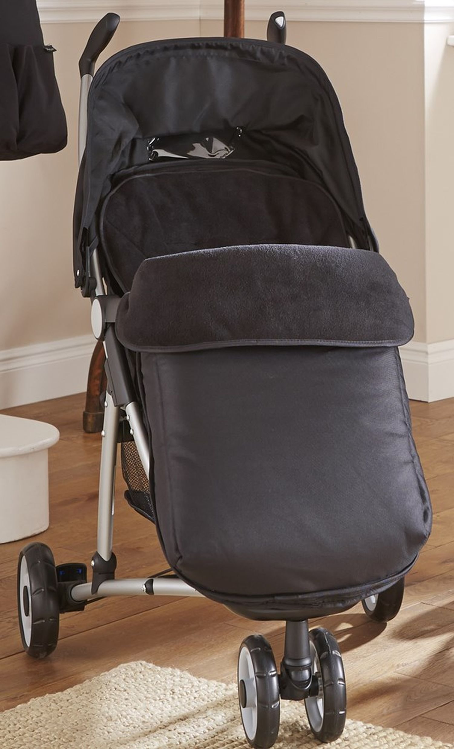 Clair de Lune Black Universal Pushchair Footmuff.