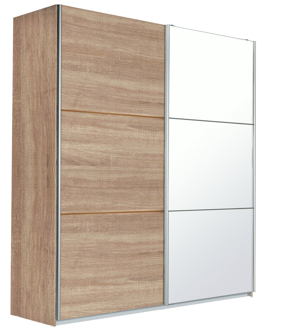 Hygena Bergen 2 Door Large Sliding Mirror Wardrobe Oak
