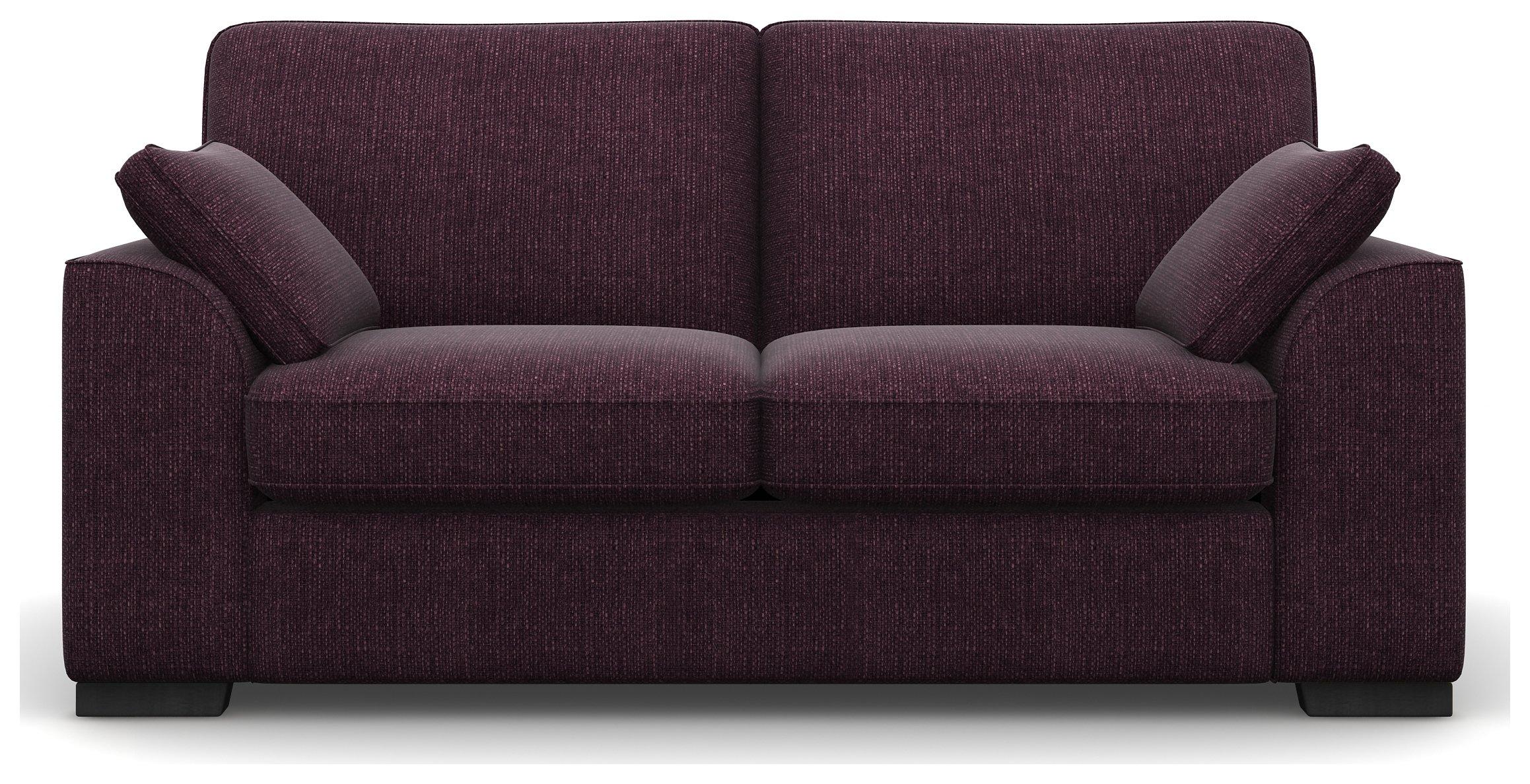Heart of House Lincoln 2 Seater Fabric Sofa - Purple + Black Legs