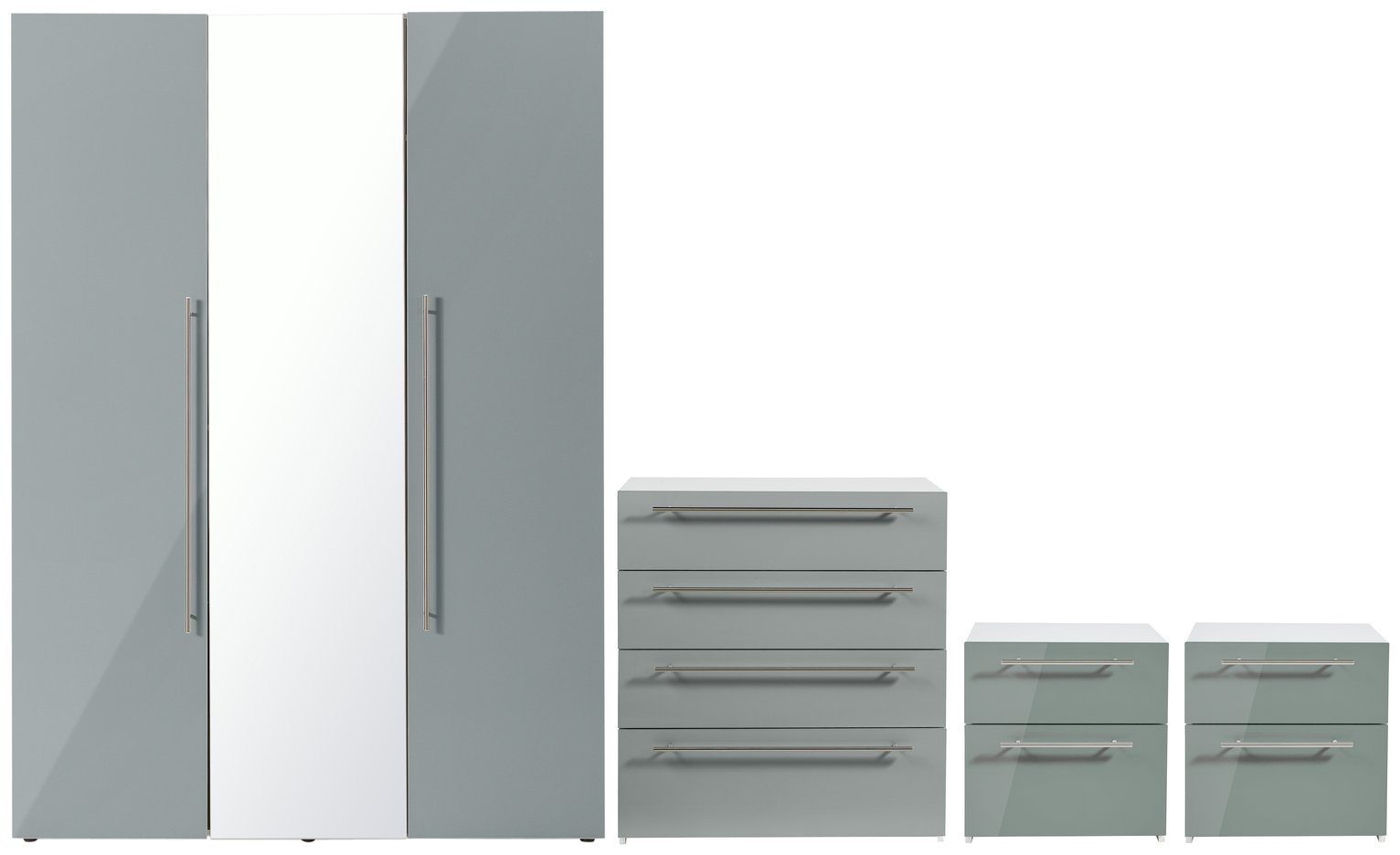 Hygena Atlas 4 Piece Bedroom Furniture Package Grey Gloss 6737528