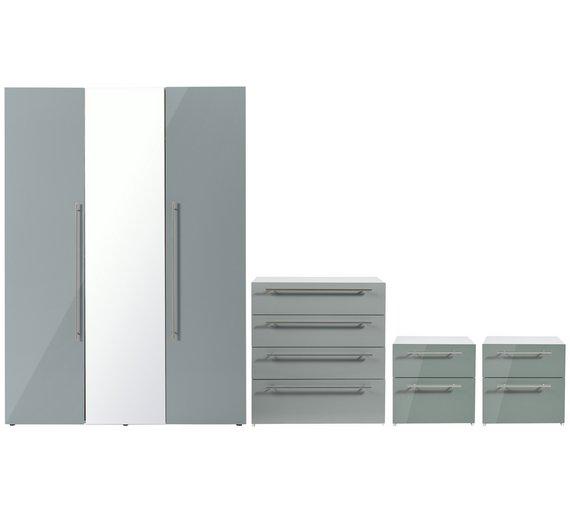 Buy Hygena Atlas 4 Piece Bedroom Furniture Package - Grey Gloss ...