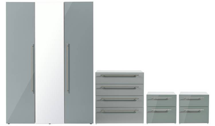Argos Home Atlas Gloss 4 Piece 3 Door Wardrobe Set - Grey