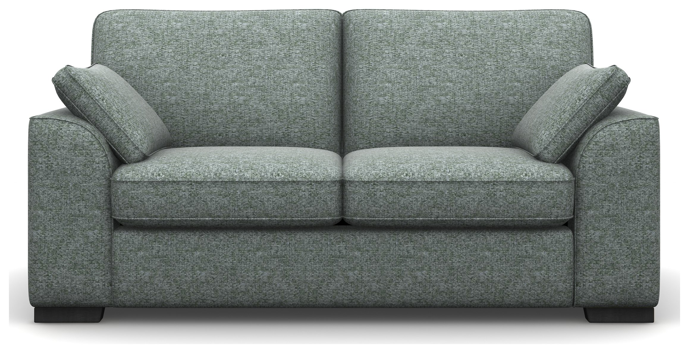 Heart of House Lincoln 2 Seat Tweed Fabric Sofa - Duck Egg + Black Legs