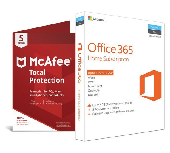 buy microsoft office 365 home and mcafee tp - 5 devices at argos
