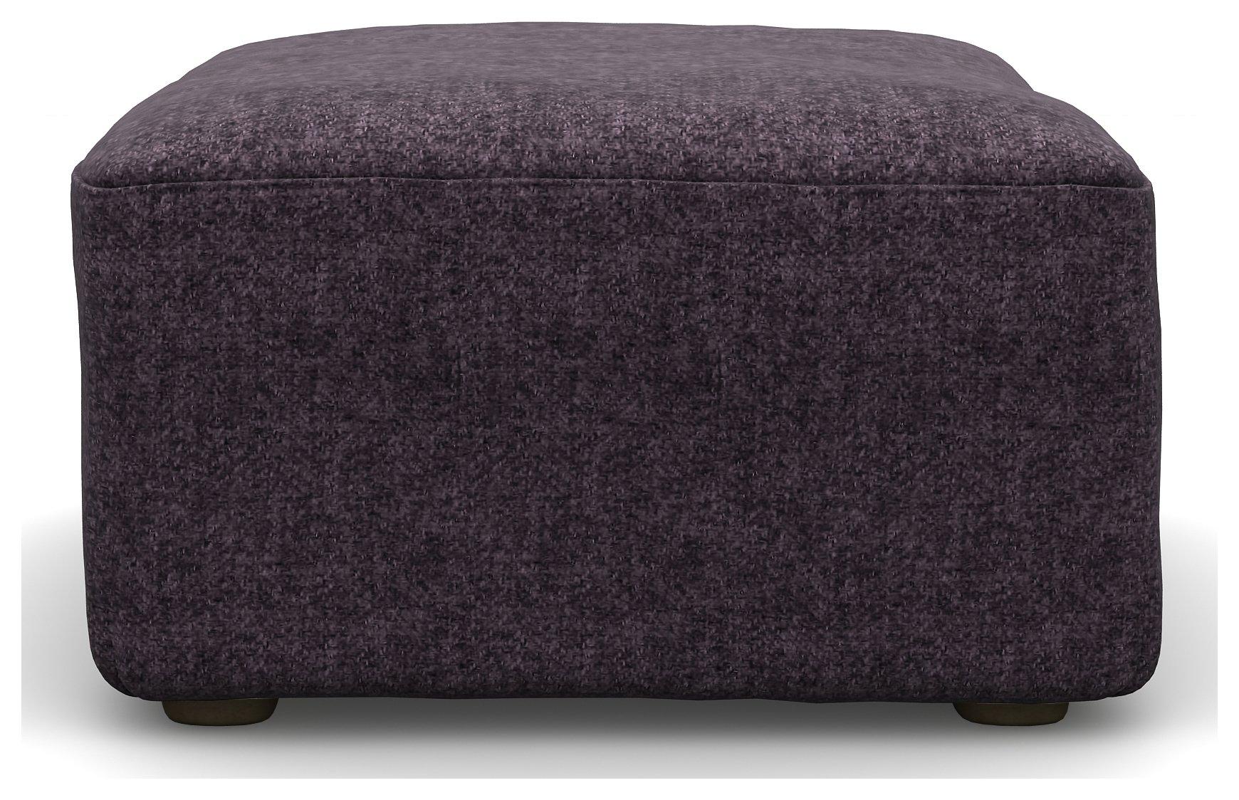 Heart of House Lincoln Tweed Fabric Footstool - Purple.