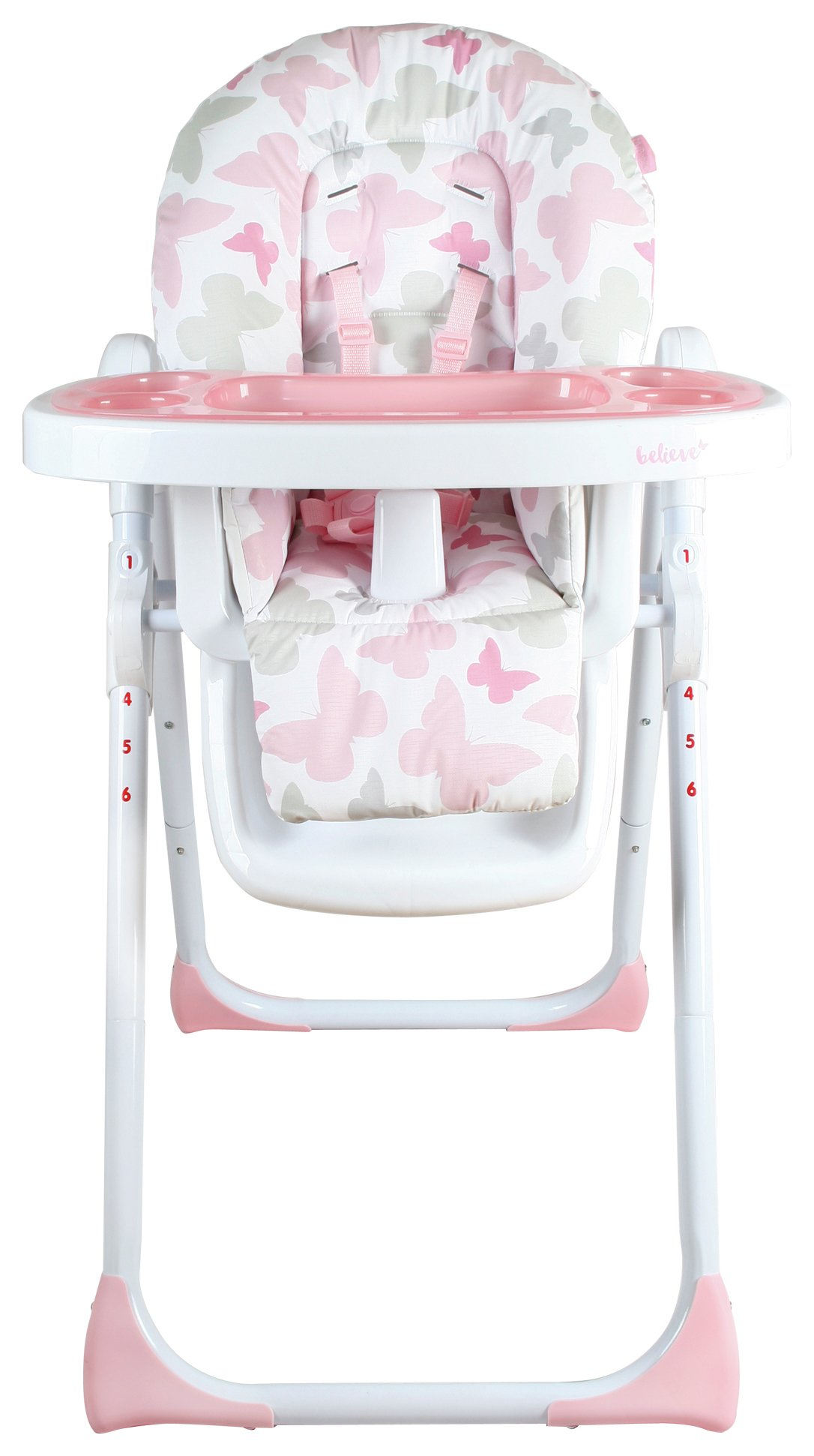 Image of My Babiie Katie Piper MBHC8BU Pink Butterfly Highchair.