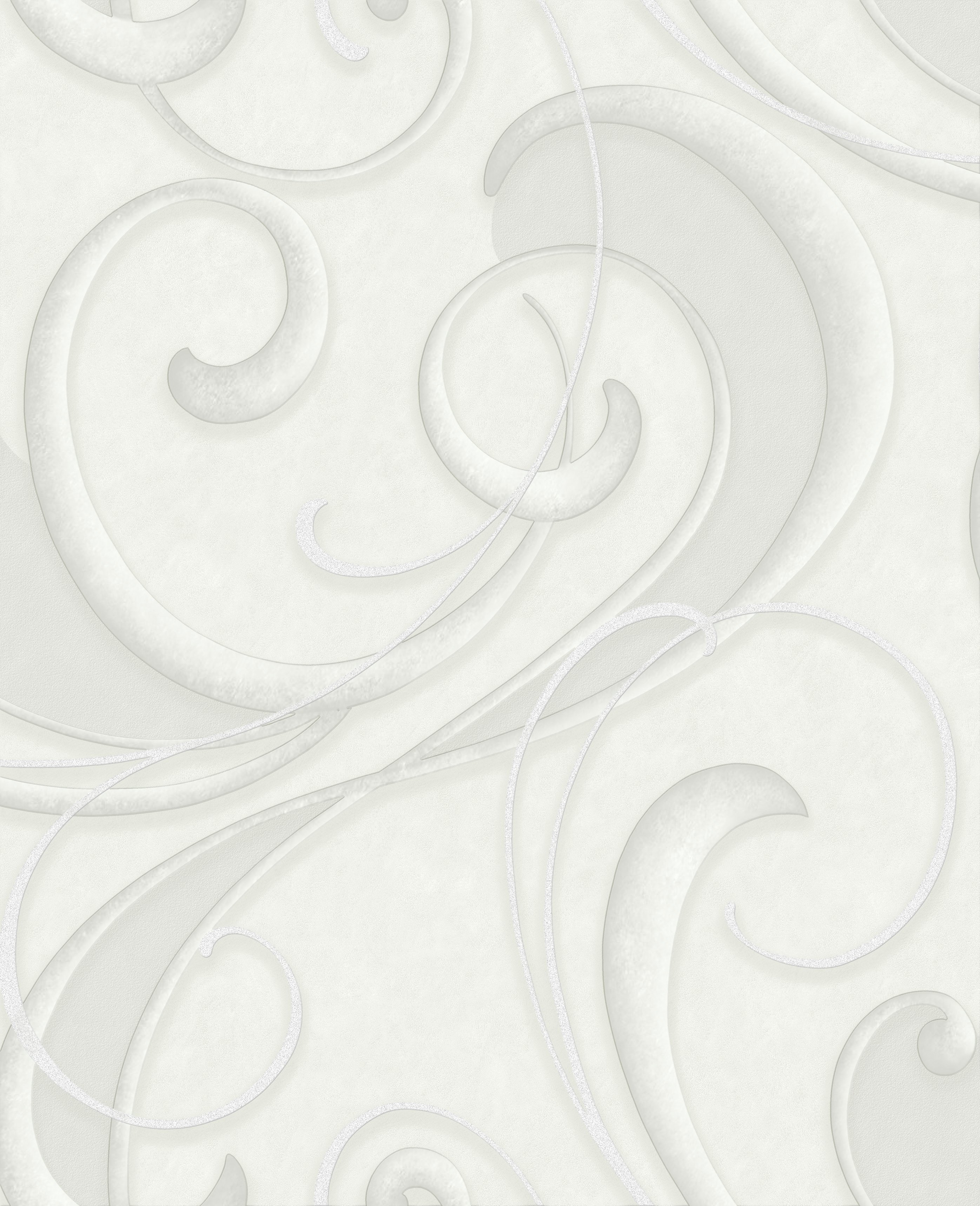 Image of Graham & Brown Flamenco Wallpaper - White & Silver.